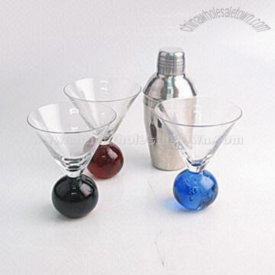 Martini Glass with Stainless Steel Shaker