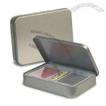 Matte Silver Tin Box with Playing Cards