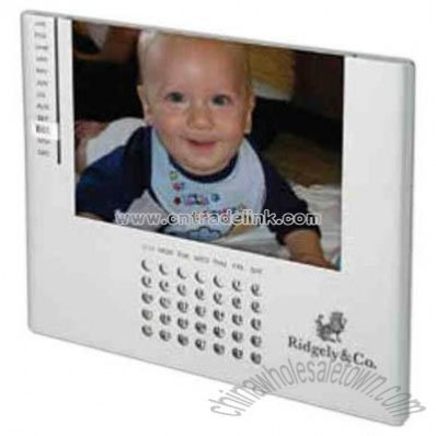 Matte chrome photo frame and perpetual calendar combo