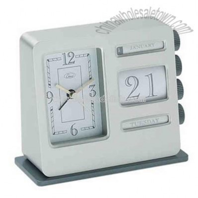 Matte silver metal retro analog desk calendar clock and alarm