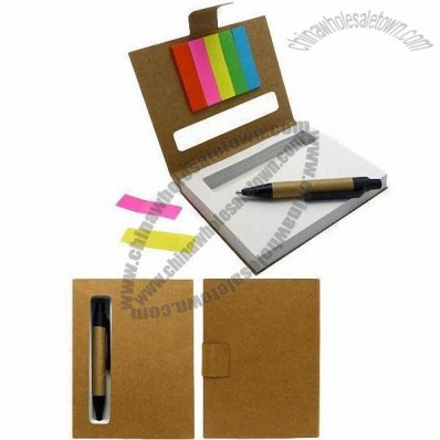 Memo Note with Page Marker and Ballpen as a Set