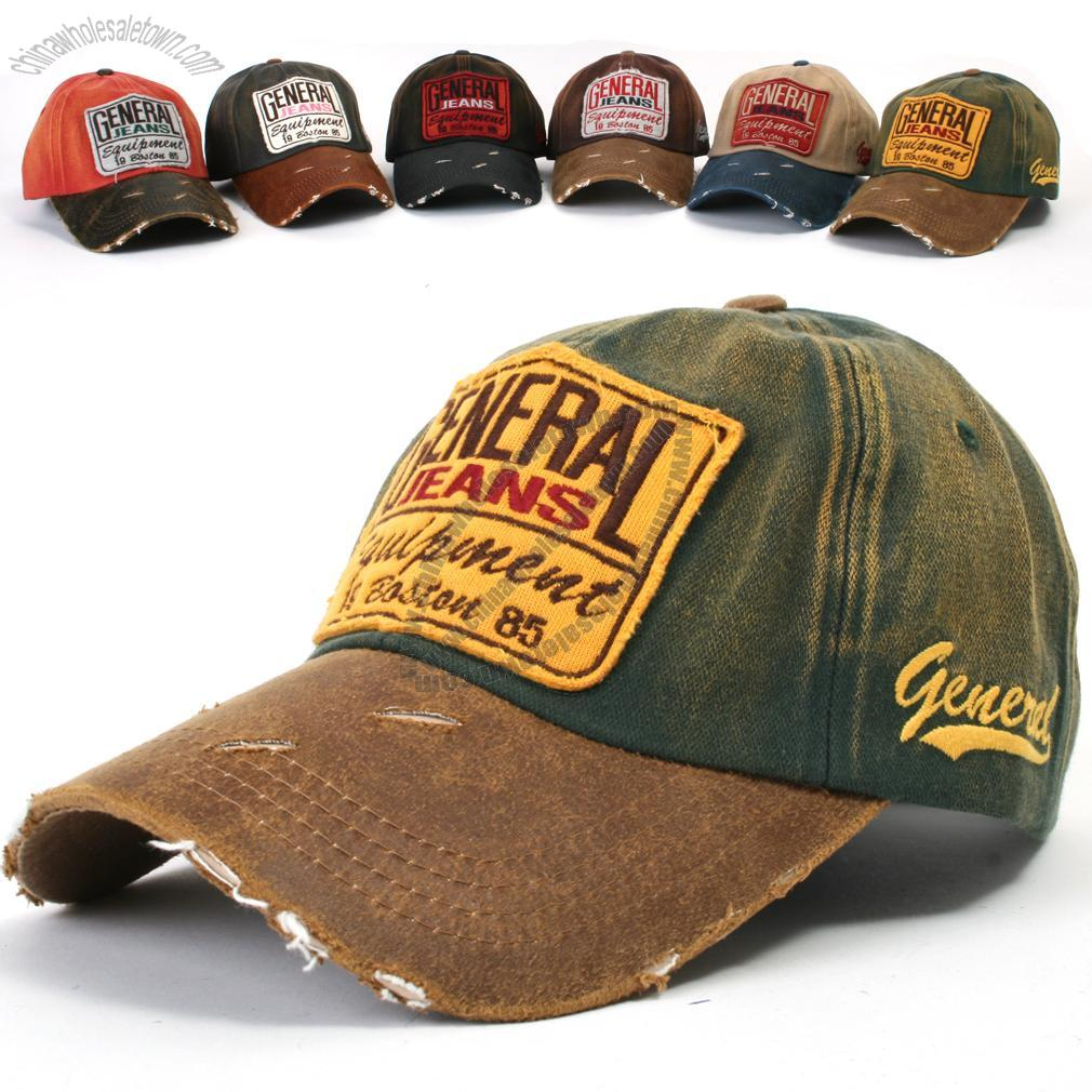 Mens Baseball Caps Vintage Distressed Embroidery Trucker