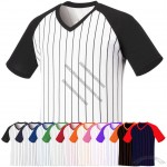 Mens Baseball Raglan Unisex T-shirts Stripe Casual Tee V-neck