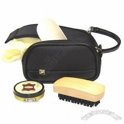 Mens Carbon Black Leather Shoe Shine Cleaning Kit