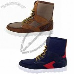 Men's Casual Shoes with Leather + Nylon Upper and Rubber Outsole