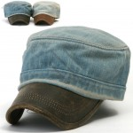 Mens Denim Cadet Military Cap Visor Unisex Hats