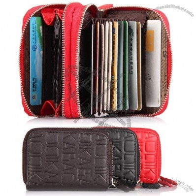 Men's Genuine Cow Leather Fashion Zipper Multifunctional Bank Credit Card Wallet