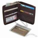 Men's Leather Zip Around Credit Card Hipster Wallet