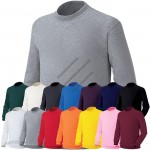 Mens Round Neck Long Sleeve Pullovers Cotton Sweatshirts