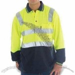 Men's Safety Polo Shirt with Light Reflecting Bars and Long Sleeves
