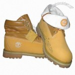 Men's Safety Shoes with Yellow Full Grain Leather and Khiki PU Upper