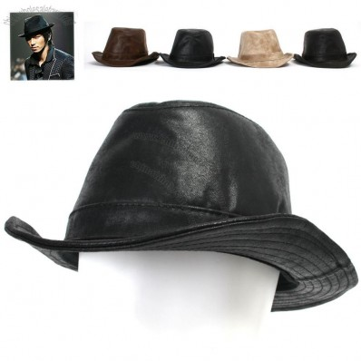 Mens Vintage Leather Like Brown Trilby Fedora Hat