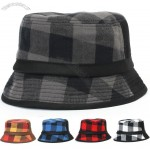 Mens Womens Vintage Checked Bucket Pockpie Hat Fishing Caps
