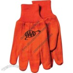 Men's flame orange jersey hunting gloves with knitted wrist.