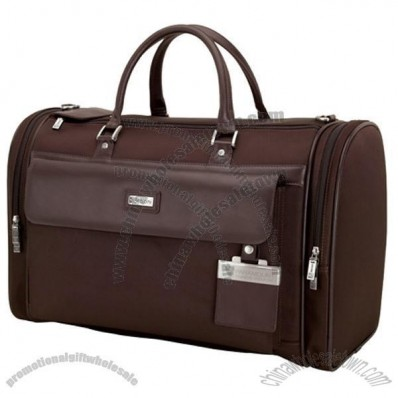 Messina Dark Brown Leather Twill Nylon Travel Bag