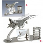 Metal Airplane Design Name Card Holder and Pen Holder with Clock
