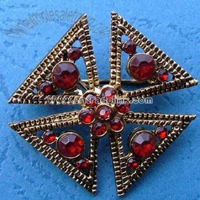 Metal Alloy Brooch with Gold and Rhodium Plating