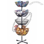 Metal Display Rack Four Adjustable Basket Rotating Merchandise Diaplay