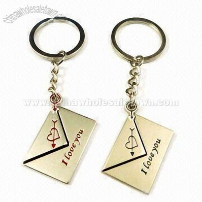 Metal Envelope Shaped Couple Keychains