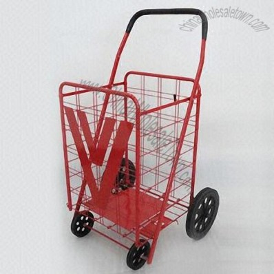 Metal Folding Shopping Cart with Plastic Front and Metal Rear Wheel