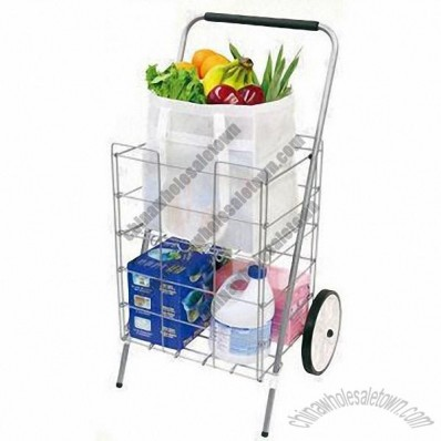 Metal Folding Shopping Cart with Shelf, Powder-coated Finish and Only Two Rear Wheels
