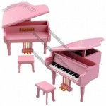 Metal Foot Pink Wooden Piano Music Box