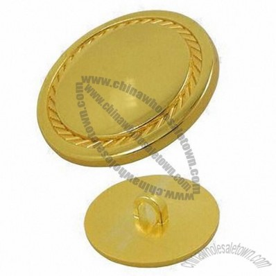 Metal Garment Button With Veins In Gold Color