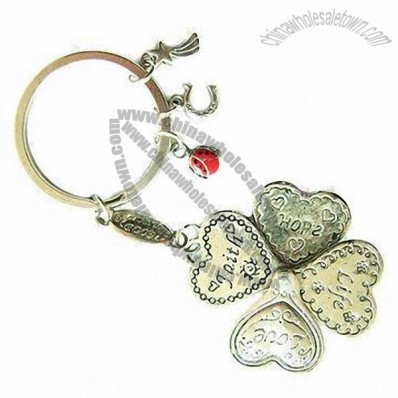 Metal Keychain In Four Leaves Clover Shape