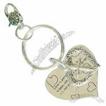 Metal Keychain With Double Heart Charms