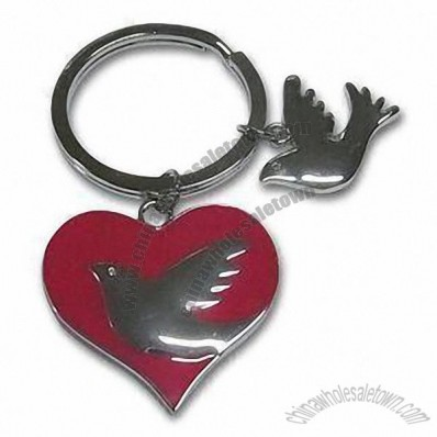 Metal Keychain in Heart-shaped with Angel