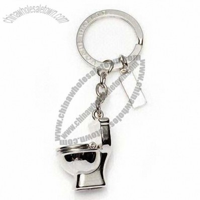 Metal Keychain with Fashion 3D Toilet