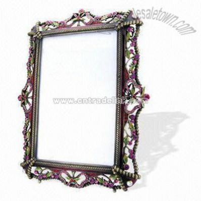 Metal Photo Frame Decorated with Stones and Crystals