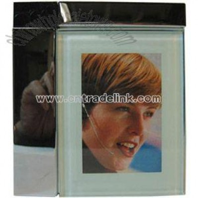 Metal Photo frame with black crocodile covered