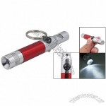 Metal Safty Whistle Mini Compass Style White LED Flashlight Pendent Keychian