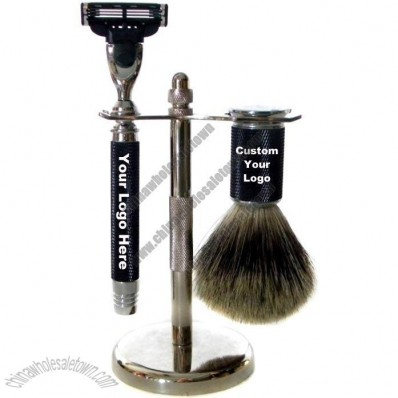 Metal Series Shaving Set with Pure Badger Brush and Triple Blade Razor