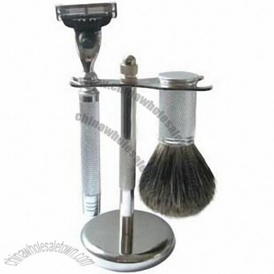 Metal Shaving Set with Mixed Badger Brush and Triple Blade Razor