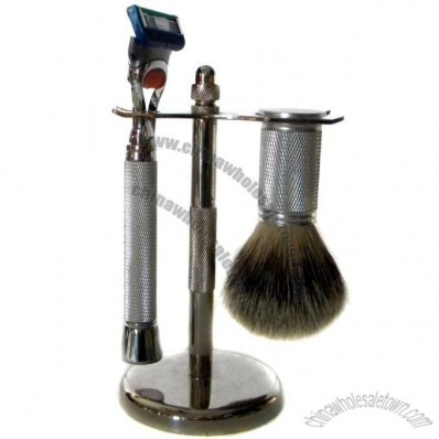 Metal Shaving Set with Pure Badger Brush and 5 Blade Razor