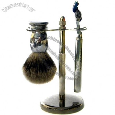 Metal Shaving Set with Pure Badger Brush and Triple Blade Razor