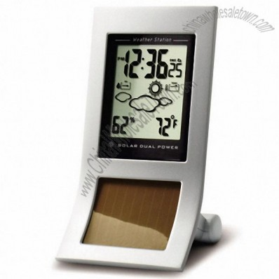Metal Solar Clock with Weather Station