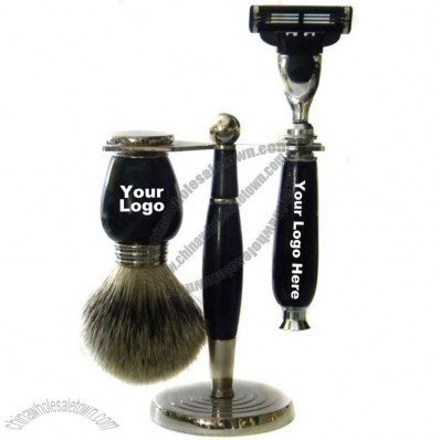 Metal Stand Resin Handle Shaving Set with Silvertip Badger Brush and Triple Blade Razor
