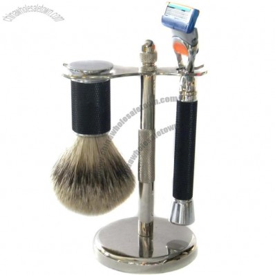 Metal Stand Shaving Set with Silvertip Badger Brush and 5 Blade Razor