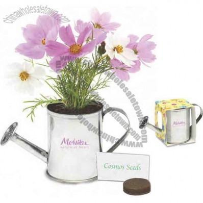 Metal Watering Can Planter Kit With Soil Disk, Seeds And Instructions