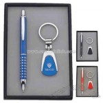 Metal ballpoint pen and key chain in gift box