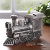 Metal pewter finish train shape money bank