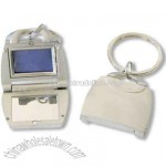 Metal purse keyring with mirror and photo frame