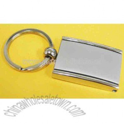 Metal rectangular key ring with photo frame and mirror