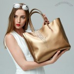 Metallic Woman Cowhide Handbag