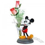 Mickey Mouse Polyresin Glass Vase with Stand
