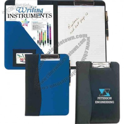 Microfiber Clip Board With 20 Page Writing Pad, Inside Flap Pocket And Id Holder