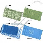 Microfiber Eyeglass Pouch with Sewn-in Lens Cleaning Cloth Inside